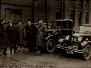 L-R Pete Collins, Jack Anthony, Dave Willis, Jock Kirkpatrick and Horace Collins outside Glasgow, Pavilion